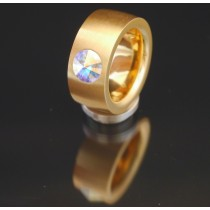 11mm PVD Gold Edelstahlring mit Swarovski Elements Fb. Crystal Aurore Boreale