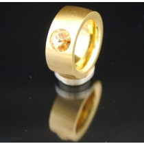 11mm PVD Gold Edelstahlring mit Swarovski Elements Fb. Light Colorado Topaz