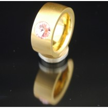 11mm PVD Gold Edelstahlring mit Swarovski Elements Fb. Light Rose