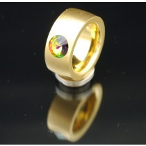 11mm PVD Gold Edelstahlring mit Swarovski Elements Fb. Crystal Vitrail medium