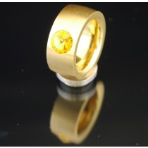 11mm PVD Gold Edelstahlring mit Swarovski Elements Fb. Sunflower