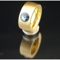 11mm PVD Gold Edelstahlring mit Swarovski Elements Fb. Denim Blue