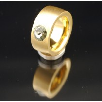 11mm PVD Gold Edelstahlring mit Swarovski Elements Fb. Black Diamond