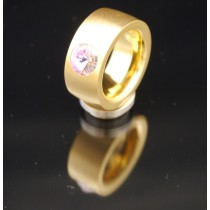 11mm PVD Gold Edelstahlring mit Swarovski Elements Fb. Crystal Vitrail light