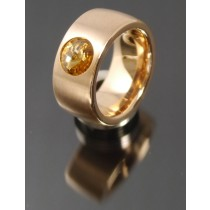 11mm PVD Rosé Gold Edelstahl Ring mit Swarovski Elements Fb. Light Colorado Topaz