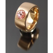 11mm PVD Rosé Gold Edelstahl Ring mit Swarovski Elements Fb. Light Rose