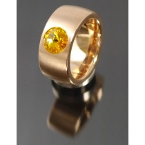 11mm PVD Rosé Gold Edelstahl Ring mit Swarovski Elements Fb. Sunflower