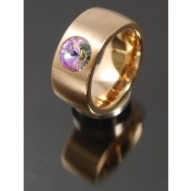 11mm PVD Rosé Gold Edelstahl Ring mit Swarovski Elements Fb. Crystal Vitrail light