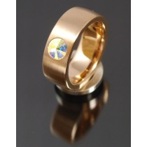 8mm Edelstahlring PVD rosé Gold mit Swarovski Elements Fb. Crystal Aurore Boreale