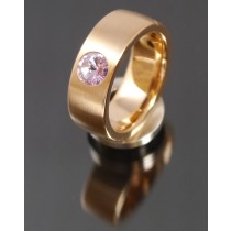 8mm Edelstahlring PVD rosé Gold mit Swarovski Elements Fb. Violet light