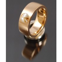 8mm Edelstahlring PVD rosé Gold mit Swarovski Elements Fb. Crystal Golden Shadow