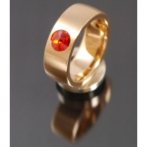 8mm Edelstahlring PVD rosé Gold mit Swarovski Elements Fb. Siam light