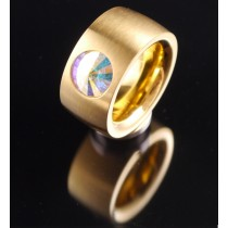 14mm PVD Gold Edelstahlring mit Swarovski Elements Fb. Crystal Aurore Boreale