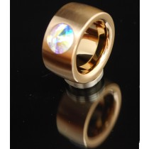 14mm Edelstahlring PVD Rosé Gold mit Swarovski Elements Fb. Crystal Aurore Boreale