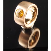 14mm Edelstahlring PVD Rosé Gold mit Swarovski Elements Fb. Light Colorado Topaz
