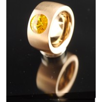 14mm PVD Rosé Gold Edelstahlring mit Swarovski Elements Fb. Sunflower