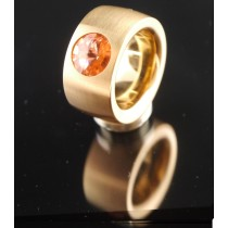 14mm PVD Rosé Gold Edelstahlring mit Swarovski Elements Fb. Rose Peach