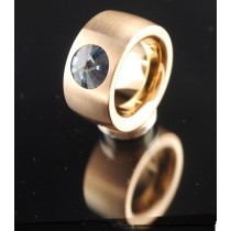 14mm PVD Rosé Gold Edelstahlring mit Swarovski Elements Fb. Denim Blue