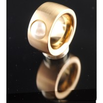 14mm PVD Rosé Gold Edelstahlring mit Swarovski Elements Fb. Perle hell