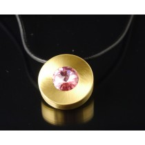 Edelstahlanhänger PVD Gold + Swarovski Elements Fb.Light Rose