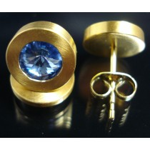Edelstahl - Ohrstecker PVD Gold mit Swarovski Elements Fb. Light Sapphire  Art.14