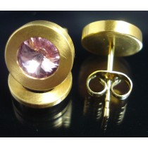 Edelstahl - Ohrstecker PVD Gold mit Swarovski Elements Fb. Light Rose Art.17