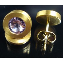 Edelstahl - Ohrstecker PVD Gold mit Swarovski Elements Fb. Violet light  Art.25