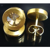 Edelstahl - Ohrstecker PVD Gold mit Swarovski Elements Fb. Crystal Golden Shadow Art.26