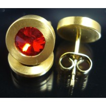 Edelstahl - Ohrstecker PVD Gold mit Swarovski Elements Fb. Siam light Art.27