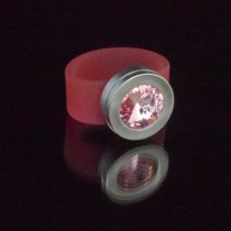 Silikonringe rose-rot matt Kopf Fb.silber + Swarovski Elements Light Rose