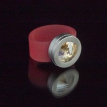 Silikonringe rose-rot matt Kopf Fb.silber + Swarovski Elements Crystal Golden Shadow