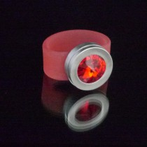Silikonringe rose-rot matt Kopf Fb.silber + Swarovski Elements Siam light