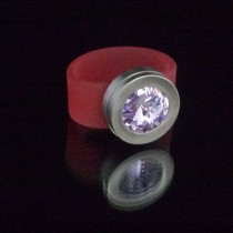 Silikonringe rose-rot matt Kopf Fb.silber + Swarovski Elements Violet light