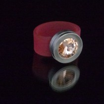 Silikonringe rose-rot matt Kopf Fb.silber + Swarovski Elements light Peach