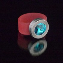 Silikonringe rose-rot matt Kopf Fb.silber + Swarovski Elements blue Zircon