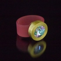 Silikonringe rose-rot matt Kopf Fb.gold + Swarovski Elements Crystal Vitrail light