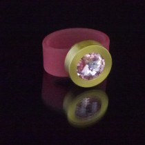 Silikonringe rose-rot matt Kopf Fb.gold + Swarovski Elements Light Rose