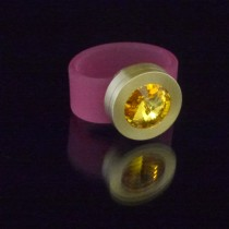 Silikonringe rose-rot matt Kopf Fb.gold + Swarovski Elements Sunflower
