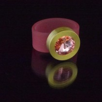 Silikonringe rose-rot matt Kopf Fb.gold + Swarovski Elements Rose Peach
