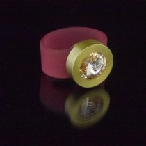 Silikonringe rose-rot matt Kopf Fb.gold + Swarovski Elements light Peach