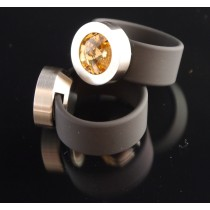 Silikon - Ring + Edelstahlkopf silber + SWAROVSKI ELEMENTS Fb. Light Colorado Topaz