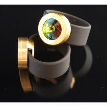 Silikonring + Edelstahl Kopf PVD Gold + SWAROVSKI ELEMENTS Fb. Crystal Vitrail medium