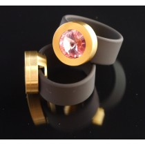 Silikonring + Edelstahl Kopf PVD Gold + SWAROVSKI ELEMENTS Fb. Light Rose