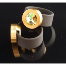 Silikonring + Edelstahl Kopf PVD Gold + SWAROVSKI ELEMENTS Fb. Luminous Green