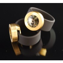 Silikonring + Edelstahl Kopf PVD Gold + SWAROVSKI ELEMENTS Fb. Black Diamond