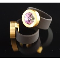 Silikonring + Edelstahl Kopf PVD Gold + SWAROVSKI ELEMENTS Fb. Crystal Vitrail light