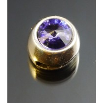 Zamak Slider 10mm x 3mm mit Swarovski Elements Stein  Tanzanite